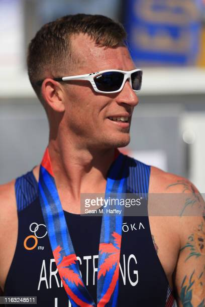 Allan Armstrong looks on after finishing in first place in the Male PTS2 division during the Legacy Triathlon-USA Paratriathlon National...