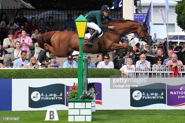 Allan Bertram on Romanov and of Ireland win first prize in the RDS Dublin Horse Show 'Irish Sports Council Classic' International Competition in the...