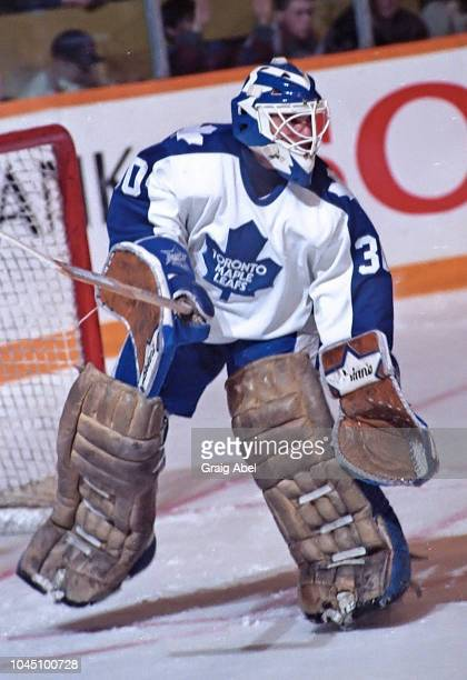 Allan Bester of the Toronto Maple Leafs skates against the Winnipeg Jets during NHL game action on March 17 1990 at Air Canada Centre in Toronto...