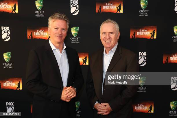 Allan Border and Steve Waugh attend the 2 Nations 1 Obsession Premiere Screening at the Australian National Maritime Museum on November 19 2018 in...