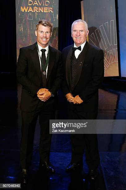 Allan Border Medal Winner David Warner and Allan Border pose on stage after David Warner wins the Allan Border Medal at the 2016 Allan Border Medal...