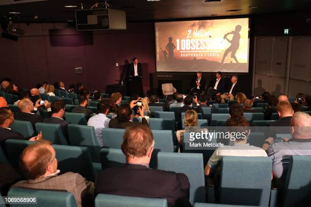 Allan Border Michael Kasprowicz and Steve Waugh talk on stage following the 2 Nations 1 Obsession Premiere Screening at the Australian National...