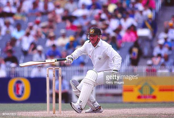 Allan Border of Australia bats during a Test match in Australia