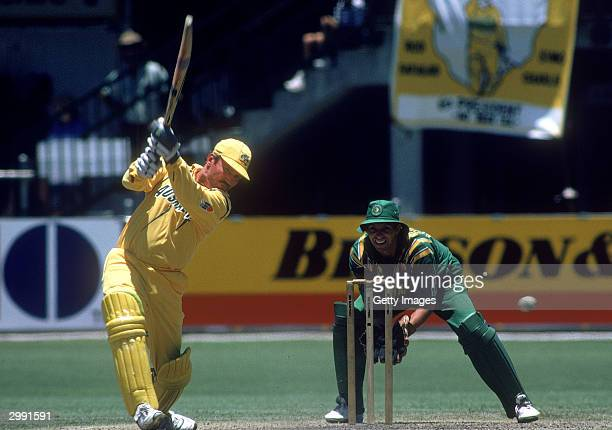 Allan Border of Australia in action during the One Day International cricket match between Australia and South Africa January 9 1994 in Brisbane...