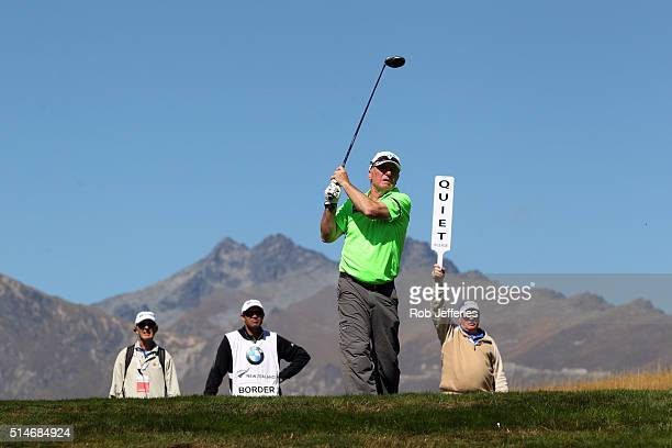 Allan Border of Australia teesoff during day two of the 2016 New Zealand Open at The Hills on March 11 2016 in Queenstown New Zealand