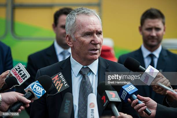 Allan Border speaks to the media during the ICC 2015 Cricket World Cup 100 days to go announcement on November 6 2014 in Sydney Australia