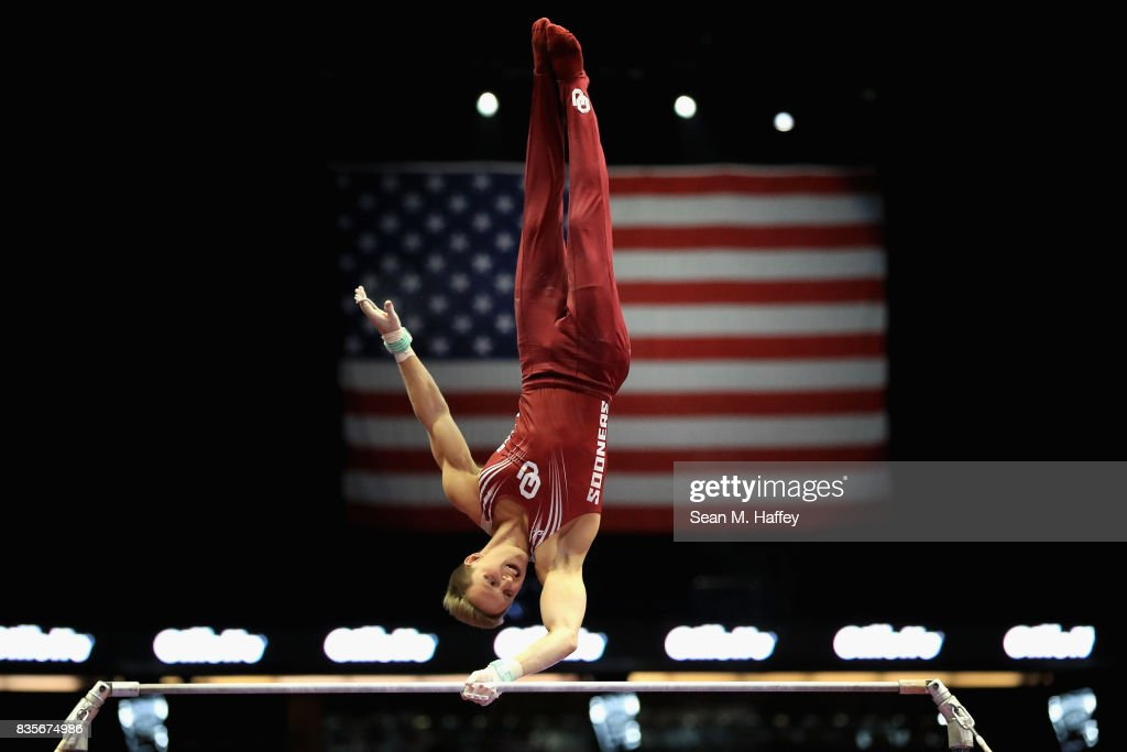 Allan Bower competes on the High Bar during the P&G Gymnastic Championships at Honda Center on August 19, 2017 in Anaheim, California.