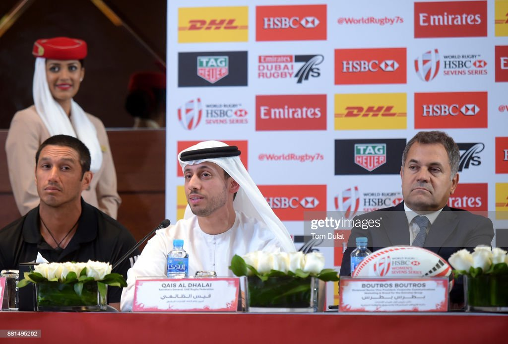 Allan Bunting - New Zealand Women's Coach, Qais Al Dhalai - Secretary General, UAE Rugby Federation, Boutros Boutros - Divisional Vice President, Corporate Communications Marketing and Brand for the Emirates Groupspeak to the media during the Emirates Dubai Rugby Sevens: HSBC Sevens World Series Press Conference on November 29, 2017 in Dubai, United Arab Emirates.