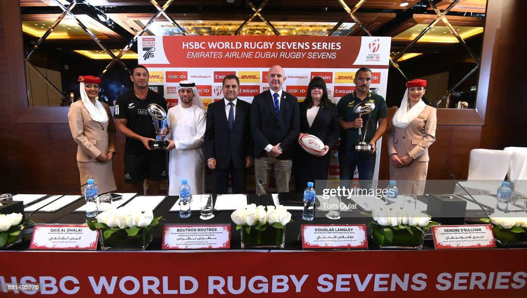 Allan Bunting - New Zealand Women's Coach, Qais Al Dhalai - Secretary General, UAE Rugby Federation, Boutros Boutros - Divisional Vice President, Corporate Communications Marketing and Brand for the Emirates Group, Douglas Langley - Series Director, HSBC Rugby Sevens Series, Dierdre O'Sullivan - Series Director, HSBC World Rugby Women's Sevens Series and Neil Powell - South Africa Men's Coach attend the Emirates Dubai Rugby Sevens: HSBC Sevens World Series Press Conference on November 29, 2017 in Dubai, United Arab Emirates.