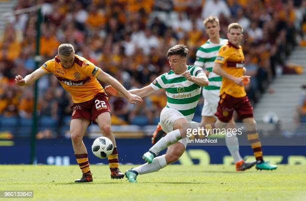 Allan Campbell of Motherwell vies with Kieran Tierney of Celtic during the Scottish Cup Final between Celtic and Motherwell at Hampden Park on May 19...