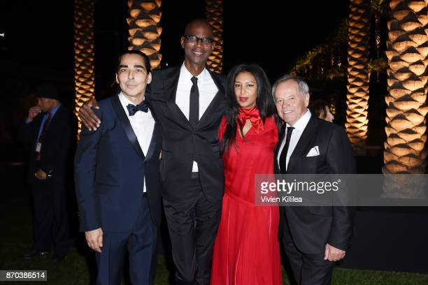 Allan DiCastro honoree Mark Bradford wearing Gucci Gelila Puck and Wolfgang Puck attend the 2017 LACMA Art Film Gala Honoring Mark Bradford and...