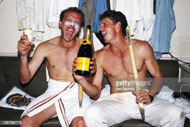Allan Donald and Fanie de Villiers of South Africa celebrate victory after the first Test between England and South Africa at Lord's on July 24 1994...
