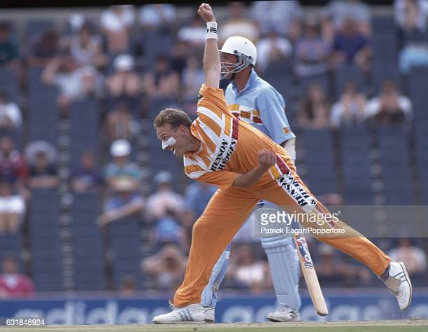 Allan Donald bowling for Free State during the oneday tour match between Free State and England XI at Goodyear Park Bloemfontein South Africa 26th...