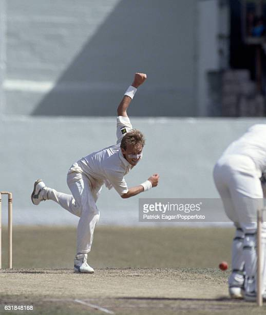 Allan Donald bowling for South Africa during the only Test match between West Indies and South Africa at the Kensington Oval Bridgetown Barbados 18th...