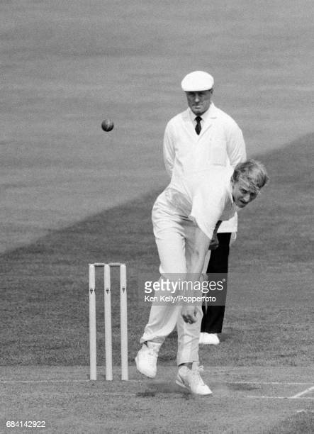 Allan Donald bowling on debut for Warwickshire during the Britannic Assurance County Championship match between Warwickshire and Glamorgan at...