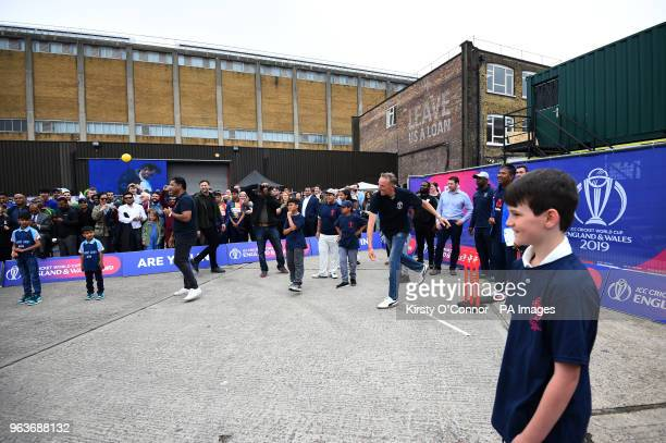 Allan Donald bowls as he takes part in a cricket game for school children during the 2019 Cricket World Cup countdown event at 93 Feet East London