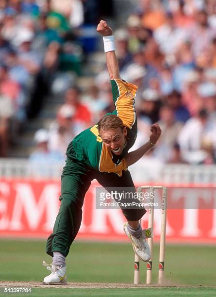 Allan Donald of South Africa bowling during the 3rd Emirates Triangular Tournament One Day International between England and South Africa at...
