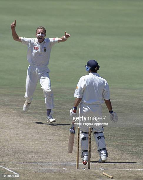 Allan Donald of South Africa celebrates after bowling England batsman Mark Ramprakash for 4 runs in the 2nd Test match between South Africa and...