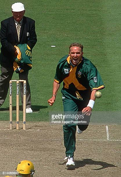 Allan Donald of South Africa celebrates the wicket of Damien Fleming of Australia during the ICC World Cup Semi Final between Australia and South...