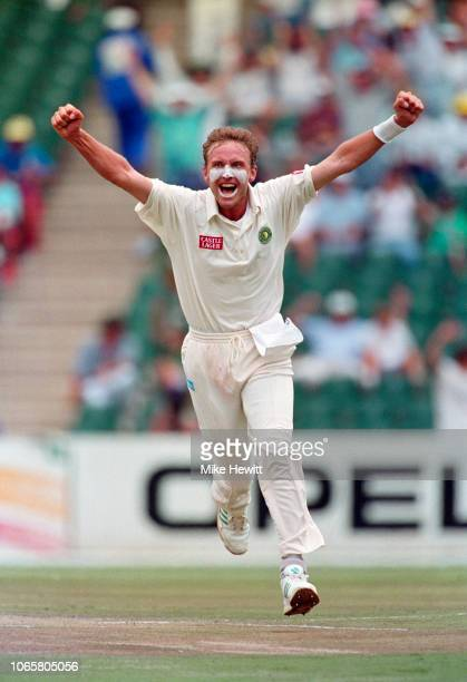 Allan Donald of South Africa celebrates the wicket of David Boon of Australia on day 2 of the first test between South Africa and Australia at the...
