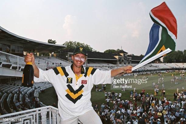 Allan Donald of South Africa celebrates victory after the first Test between England and South Africa at Lord's on July 24 1994 in London England