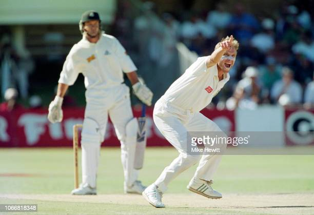Allan Donald of South Africa traps Graeme Hick of England lbw on day 3 of the fourth Test between South Africa and England at St George's Park on...