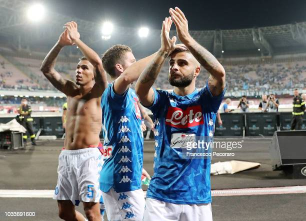 Allan Dries Mertens and Lorenzo Insigne of SSC Napoli celebrate the victory after the serie A match between SSC Napoli and ACF Fiorentina at Stadio...