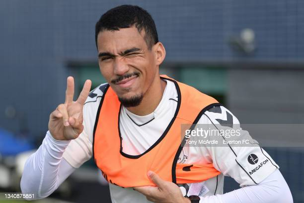 Allan during the Everton Training Session at USM Finch Farm on September 16 2021 in Halewood, England.