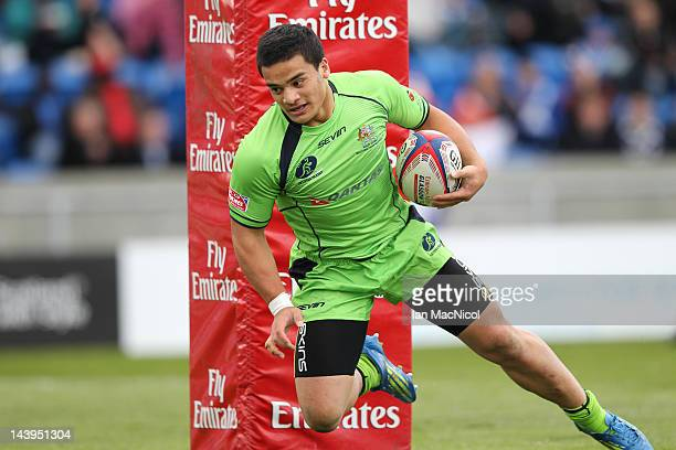 Allan Fa'alava'au of Australia scores a try during the match between Australia and Wales during day two of the IRB Glasgow Sevens at Scotstoun...