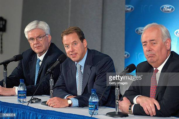 Allan Gilmour vice chairman and chief financial officer of Ford Motor Co Bill Ford chairman and CEO and Nick Scheele president and COO attend the...