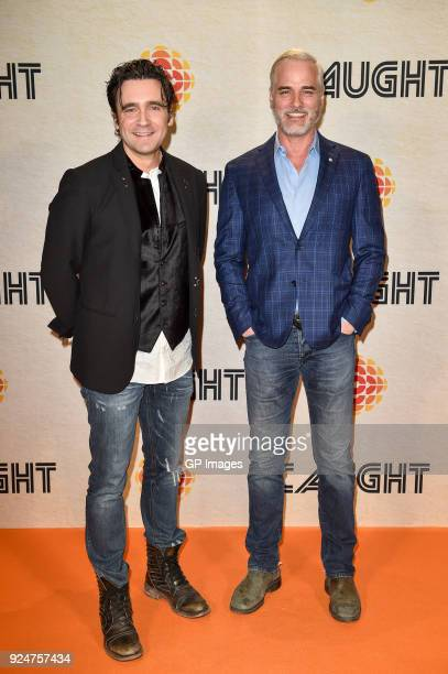 Allan Hawco and Paul Gross attend CBC hosts world premiere of 'Caught' at TIFF Bell Lightbox on February 26 2018 in Toronto Canada