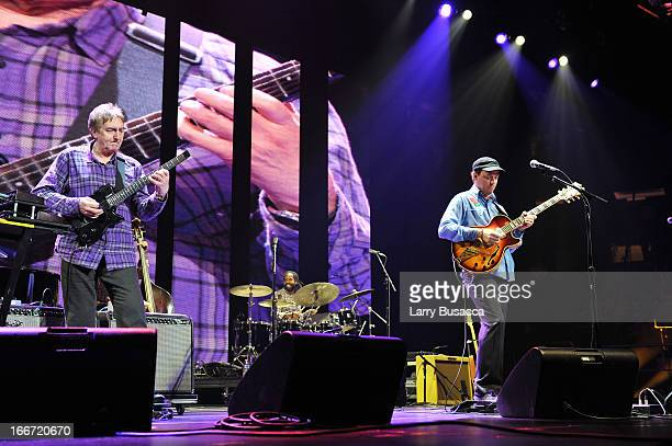 Allan Holdsworth and Kurt Rosenwinkel perform on stage during the 2013 Crossroads Guitar Festival at Madison Square Garden on April 12 2013 in New...