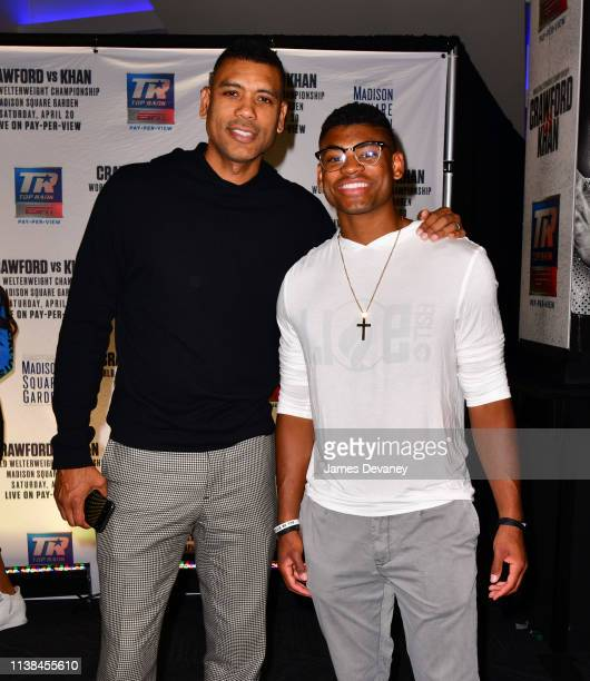 Allan Houston and Allan Houston III attend Top Rank VIP party prior to the WBO welterweight title fight between Terence Crawford and Amir Khan at...