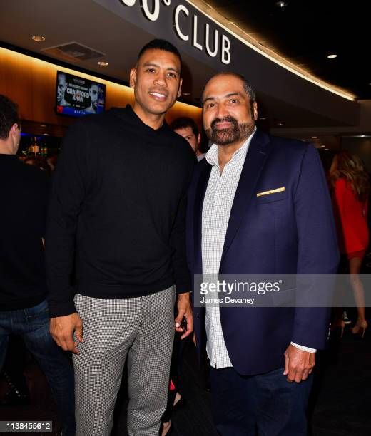 Allan Houston and Franco Harris attend Top Rank VIP party prior to the WBO welterweight title fight between Terence Crawford and Amir Khan at Madison...
