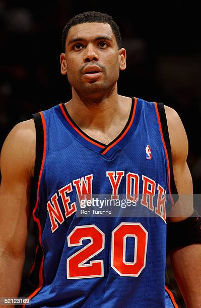 Allan Houston of the New York Knicks is on the court during the game against the Toronto Raptors on January 19 2005 at the Air Canada Centre in...