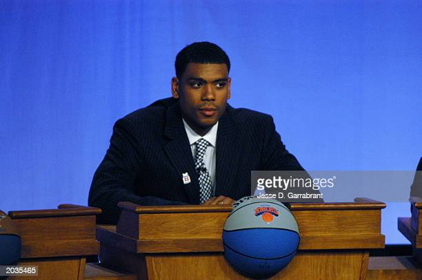 Allan Houston of the New York Knicks looks on during the 2003 NBA draft lottery on May 22 2003 in Secaucus New Jersey NOTE TO USER User expressly...