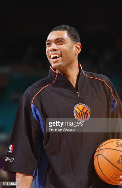 Allan Houston of the New York Knicks smiles before the game against the Portland Trail Blazers at Madison Square Garden on January 9 2005 in New York...