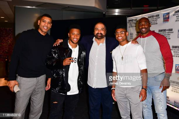 Allan Houston Saquon Barkley Franco Harris Allan Houston III and Brandon Jacobs attend Top Rank VIP party prior to the WBO welterweight title fight...