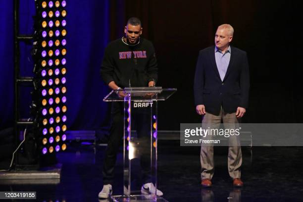 Allan Houston talks to the crowd during the NBA 2K League Draft on February 22 2020 at Terminal 5 in New York New York NOTE TO USER User expressly...