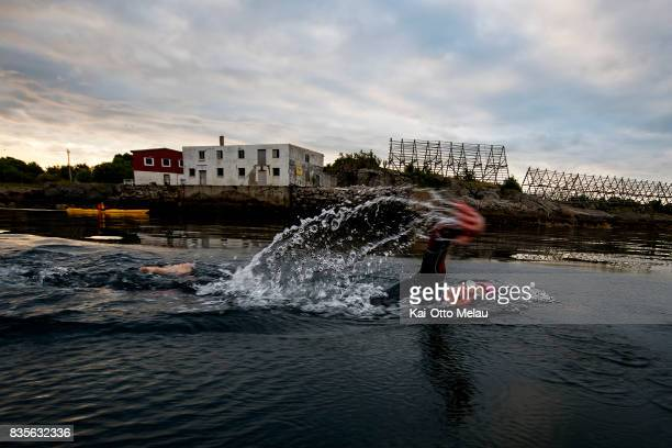 Allan Hovda at the swimleg at The Arctic Triple // Lofoten Triathlon Extreme distance on August 19 2017 in Svolvar Norway Lofoten Triathlon is one of...