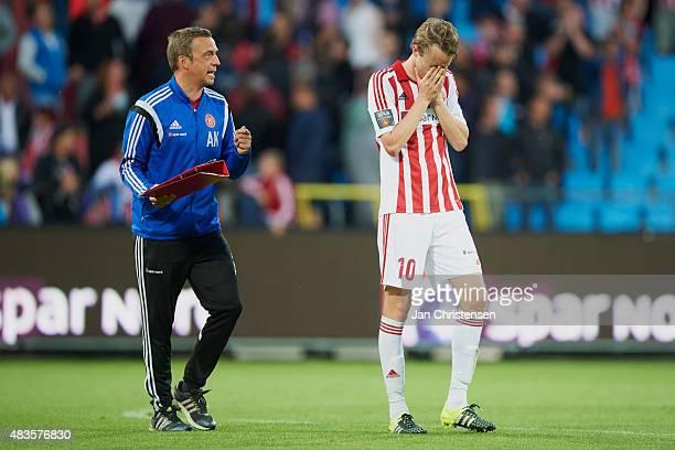 Allan Kuhn assistant coach of AaB Aalborg and Rasmus Jonsson of AaB Aalborg looks dejected after the Danish Alka Superliga match between AaB Aalborg...
