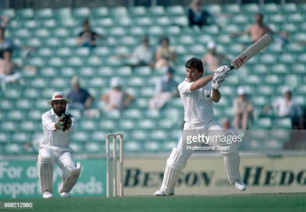 Allan Lamb batting for England during his innings of 107 in the 3rd Test match between England and India at The Oval London 8th July 1982 Lamb put on...