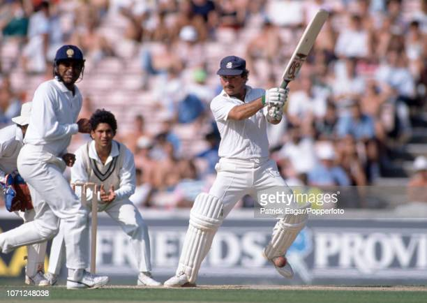 Allan Lamb batting for England during his innings of 109 runs in the 2nd Test match between England and India at Old Trafford Manchester 13th August...