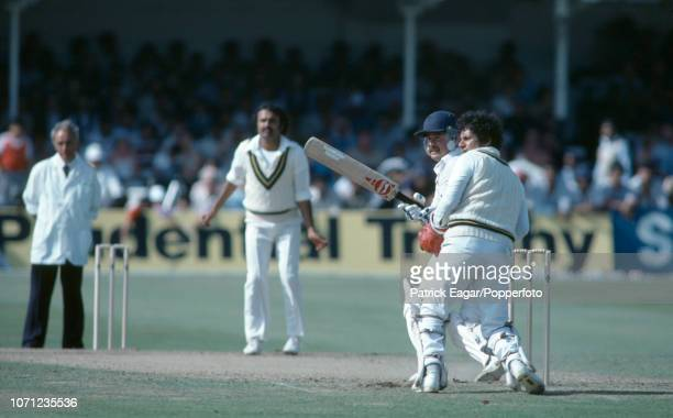 Allan Lamb batting for England during his innings of 118 in the 1st Prudential Trophy One Day International between England and Pakistan at Trent...
