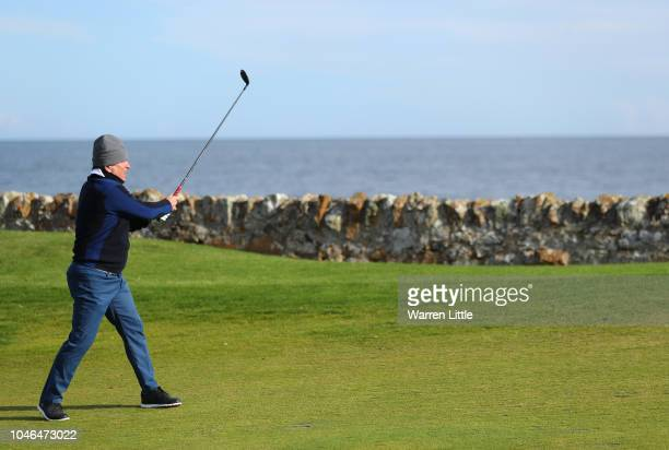 Allan Lamb plays his second shot on the 12th during day three of the 2018 Alfred Dunhill Links Championship at Kingsbarns Golf Club on October 6 2018...