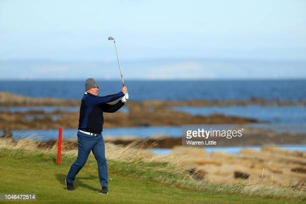 Allan Lamb plays his third shot on the 12th during day three of the 2018 Alfred Dunhill Links Championship at Kingsbarns Golf Club on October 6 2018...