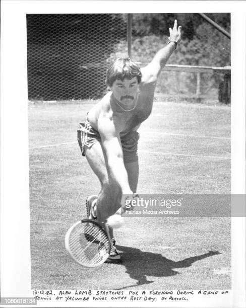 Allan Lamb stretches for a forehand during a game of Tennis at Yalumba wines on the rest day December 13 1982