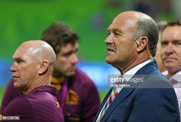 Allan Langer and Wally Lewis look on during the NRL Preliminary Final match between the Melbourne Storm and the Brisbane Broncos at AAMI Park on...