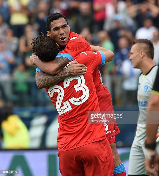 Allan Marques Loureiro and Manolo Gabbiadini of Napoli celebrate a goal 22 scored by Allan Marques Loureiro during the Serie A match between Empoli...