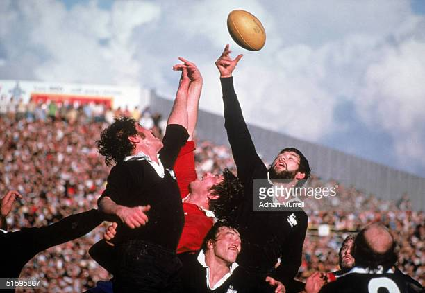 Allan Martin of the British Lions contests a lineout during the match between the NZ Juniors and the British Lions on July 13 1977 in Wellington New...